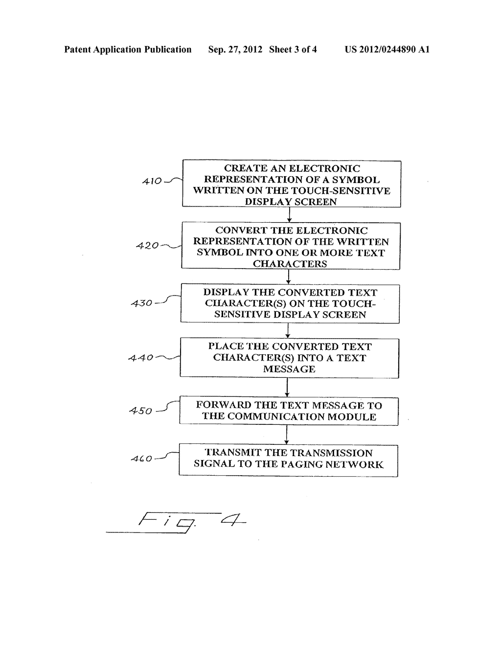 Pager with a Touch-Sensitive Display Screen and Method for Transmitting a     Message Therefrom - diagram, schematic, and image 04