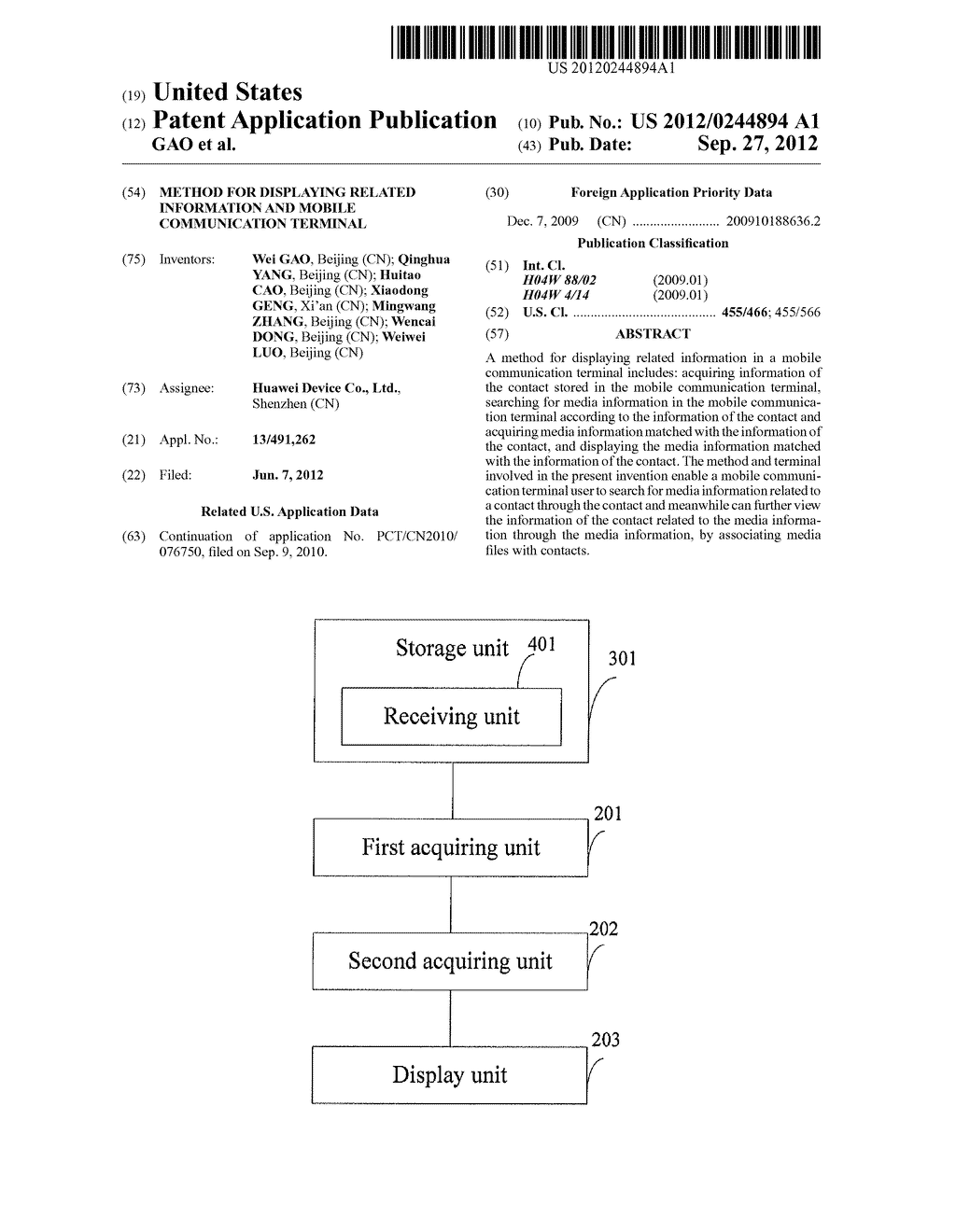 METHOD FOR DISPLAYING RELATED INFORMATION AND MOBILE COMMUNICATION     TERMINAL - diagram, schematic, and image 01