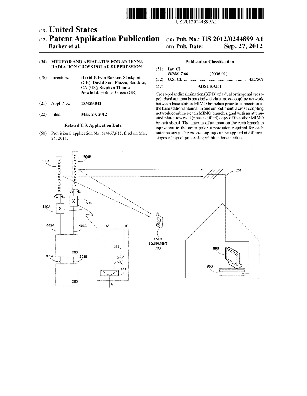 METHOD AND APPARATUS FOR ANTENNA RADIATION CROSS POLAR SUPPRESSION - diagram, schematic, and image 01