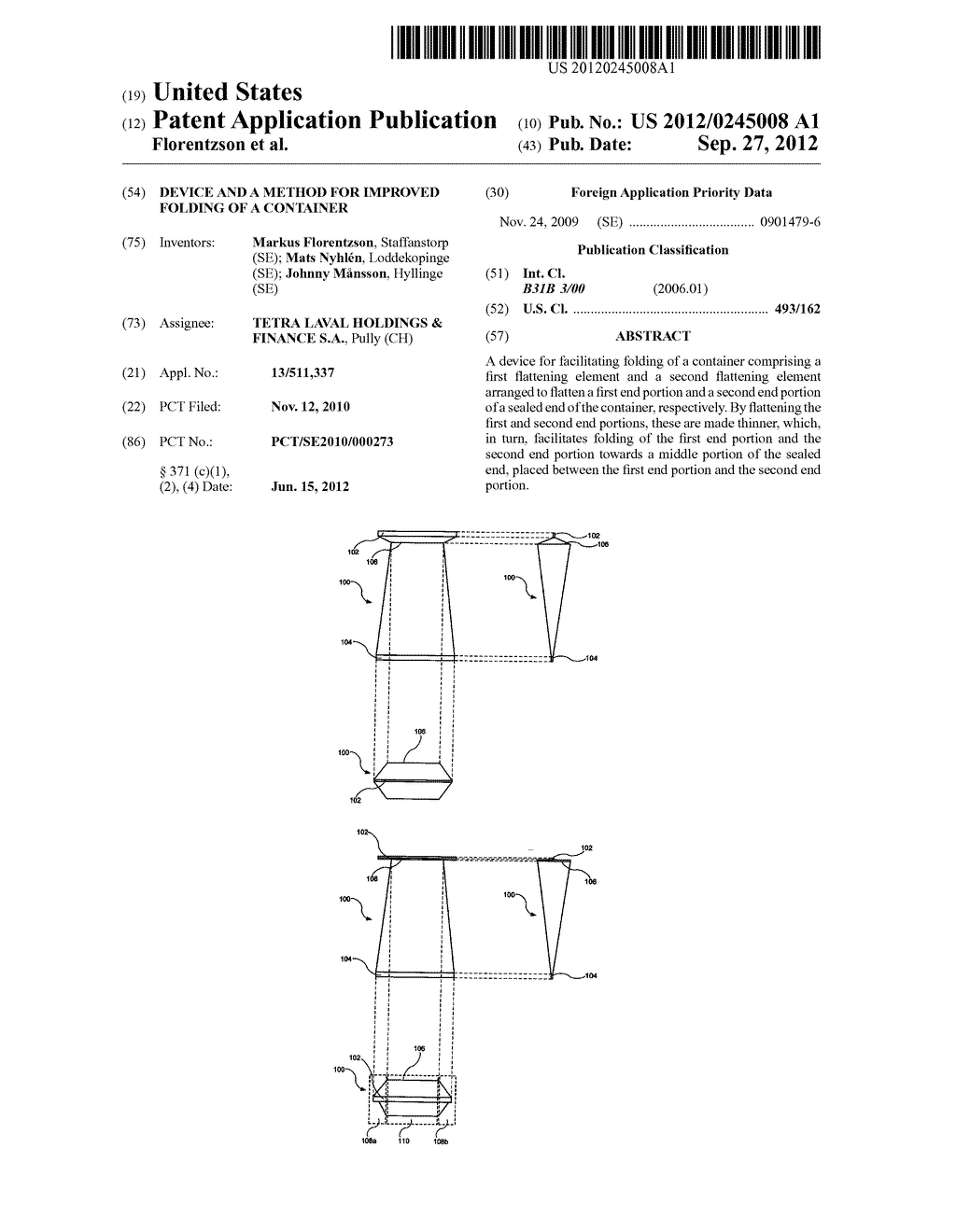 DEVICE AND A METHOD FOR IMPROVED FOLDING OF A CONTAINER - diagram, schematic, and image 01