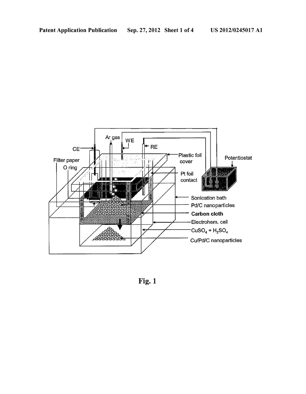 Method and Electrochemical Cell for Synthesis and Treatment of Metal     Monolayer Electrocatalysts Metal, Carbon, and Oxide Nanoparticles Ion     Batch, or in Continuous Fashion - diagram, schematic, and image 02