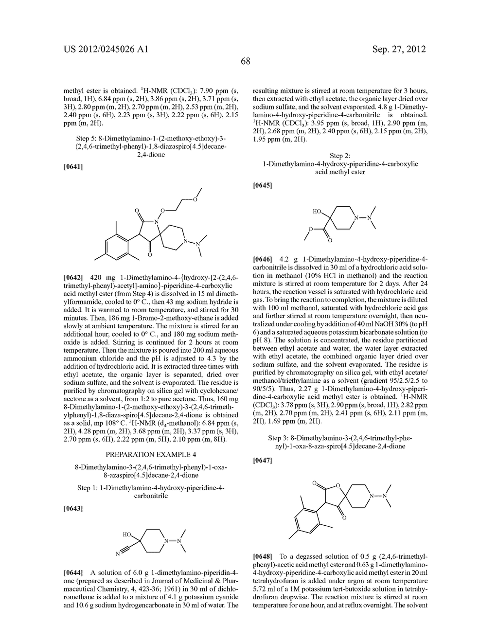 SPIRO FUSED 1-AMINO - PIPERDINE PYRROLIDINE DIONE DERIVATIVES WITH     PESTICIDAL ACTIVITY - diagram, schematic, and image 69