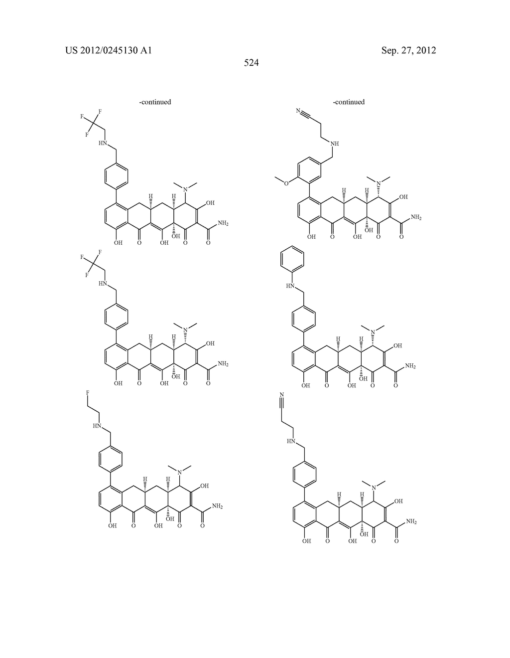 Methods of Using Substituted Tetracycline Compounds to Modulate RNA - diagram, schematic, and image 526