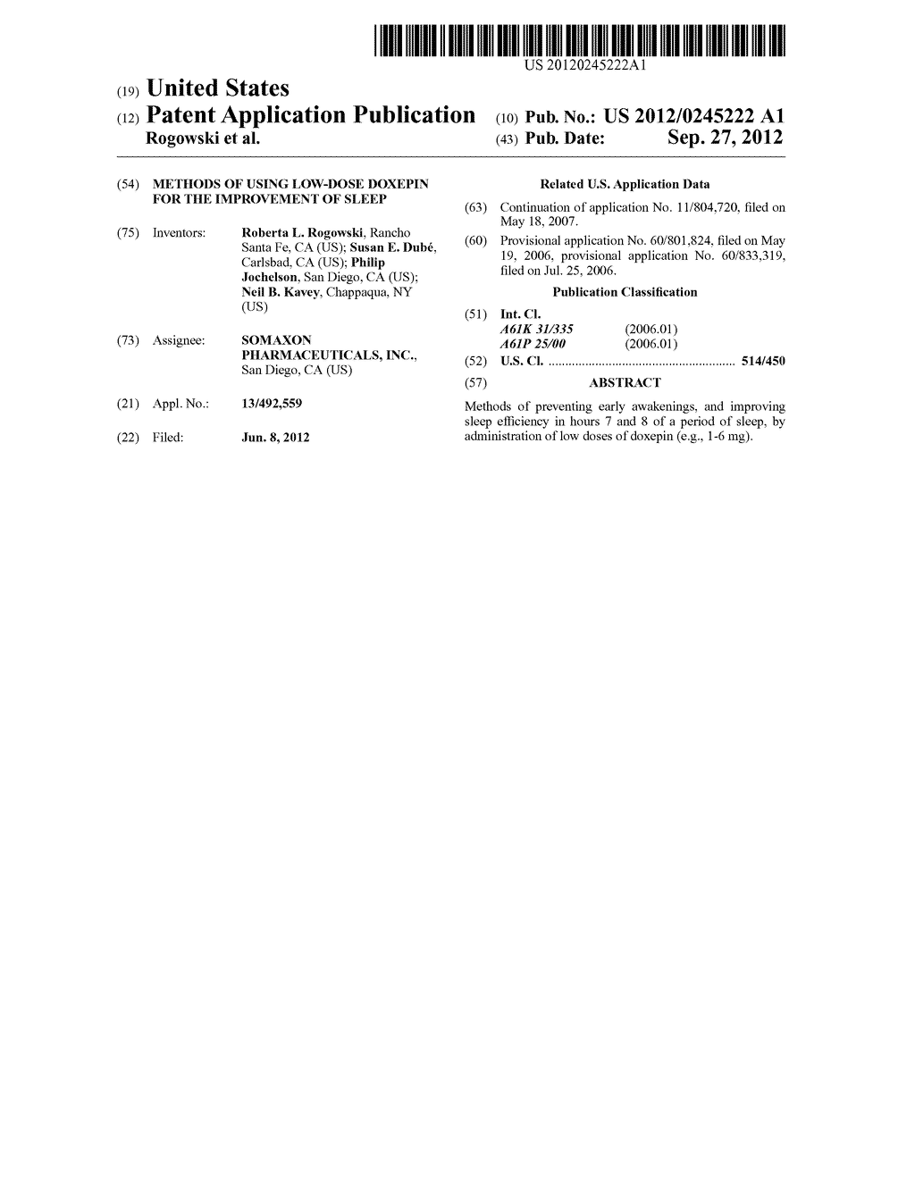 METHODS OF USING LOW-DOSE DOXEPIN FOR THE IMPROVEMENT OF SLEEP - diagram, schematic, and image 01
