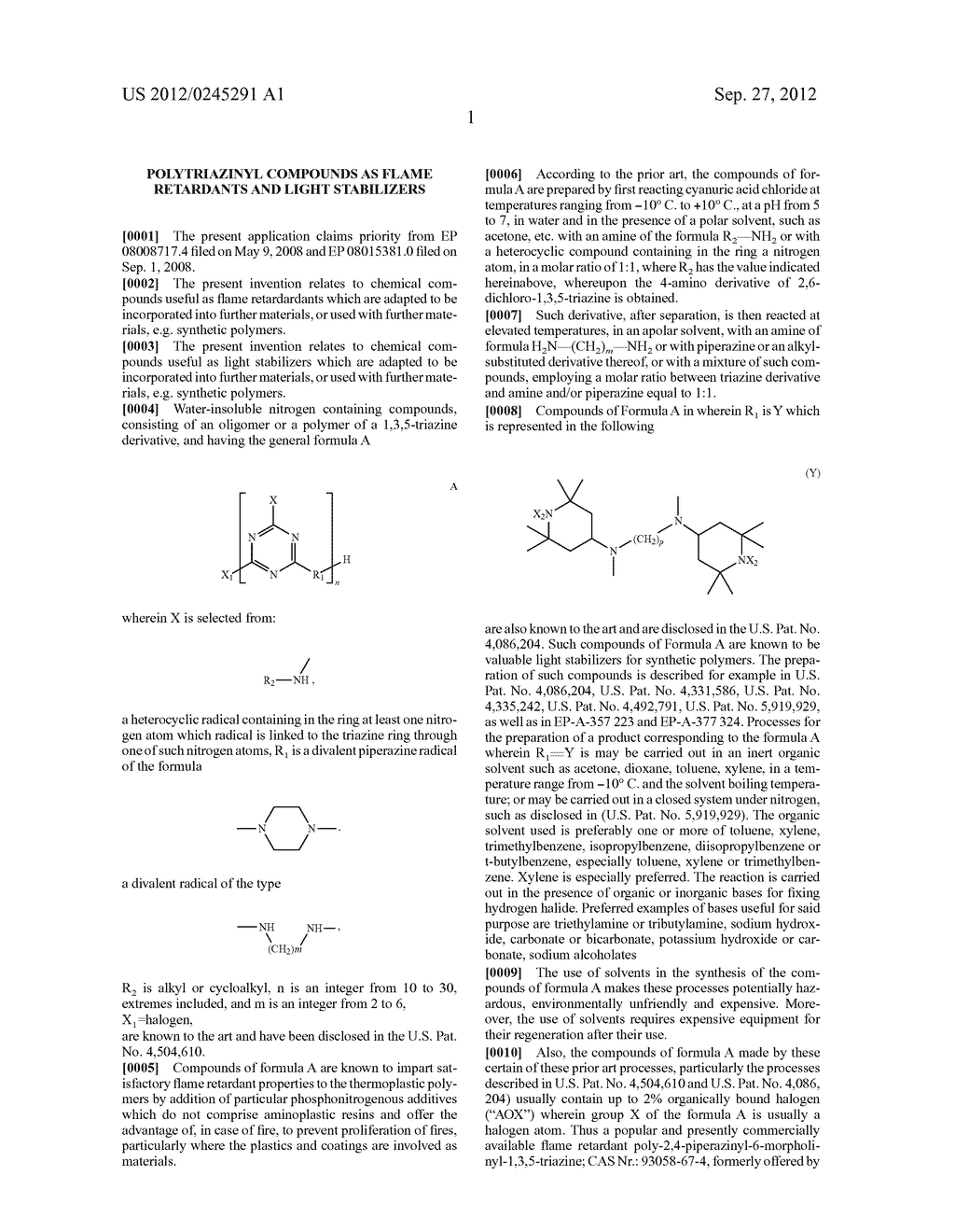 Polytriazinyl Compounds as Flame Retardants and Light Stabilizers - diagram, schematic, and image 02