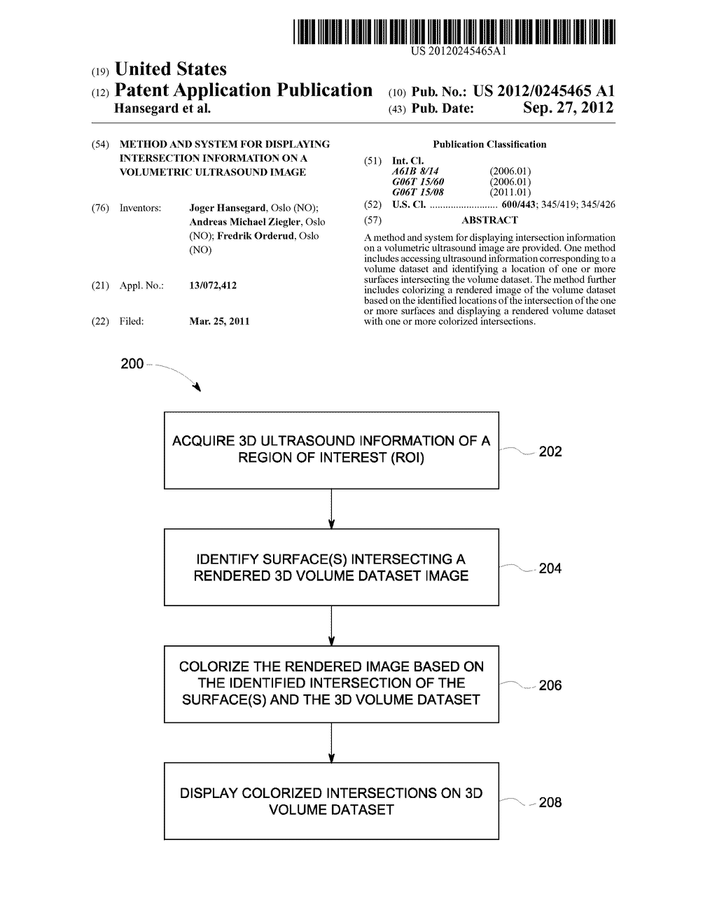 METHOD AND SYSTEM FOR DISPLAYING INTERSECTION INFORMATION ON A VOLUMETRIC     ULTRASOUND IMAGE - diagram, schematic, and image 01