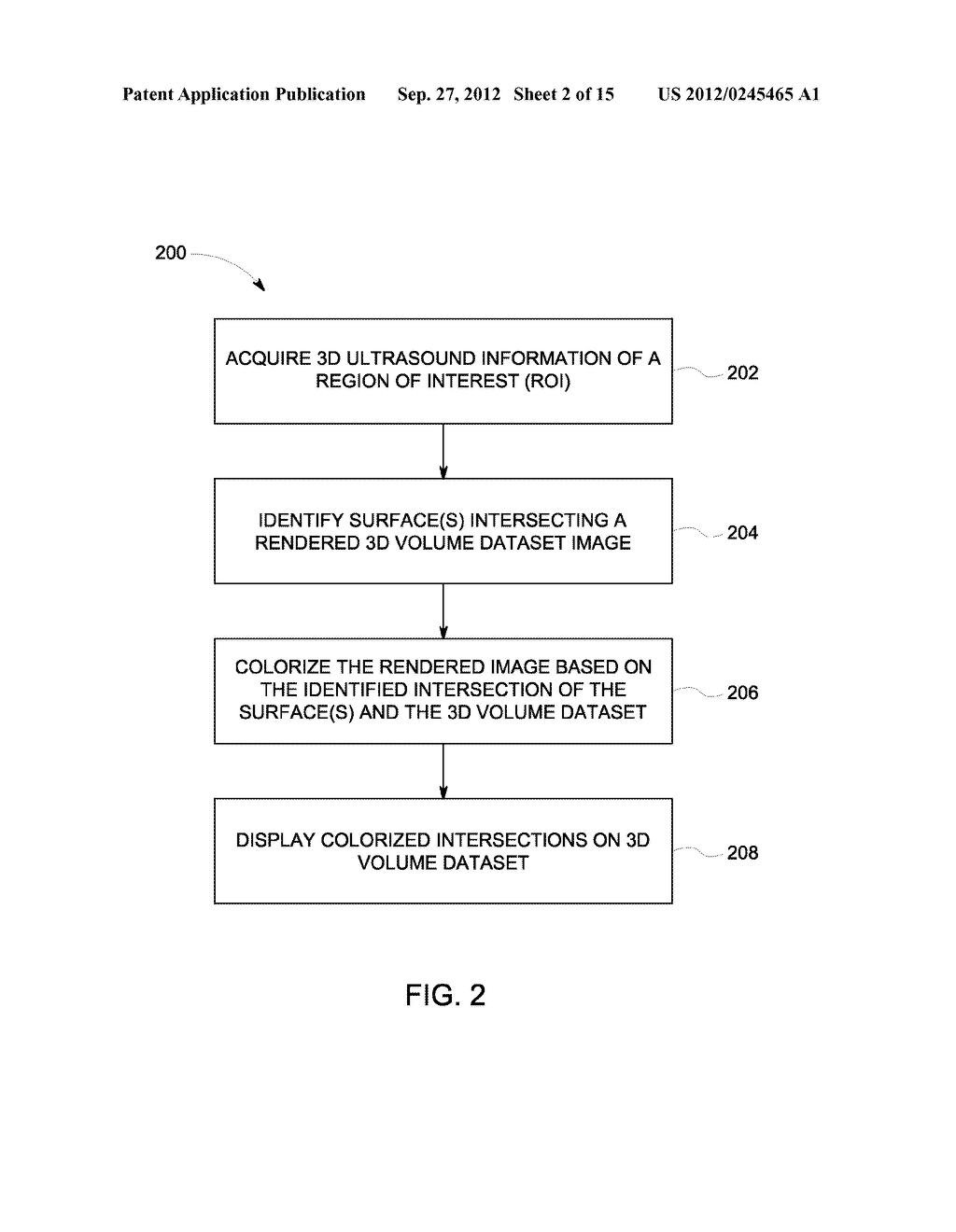 METHOD AND SYSTEM FOR DISPLAYING INTERSECTION INFORMATION ON A VOLUMETRIC     ULTRASOUND IMAGE - diagram, schematic, and image 03