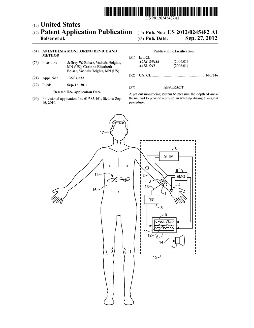 Anesthesia Monitoring Device and Method - diagram, schematic, and image 01