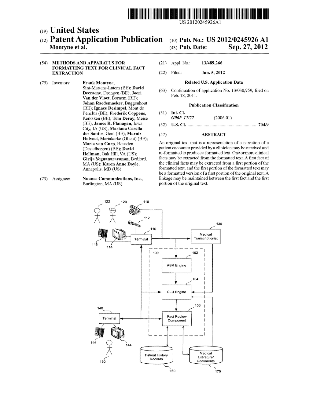 METHODS AND APPARATUS FOR FORMATTING TEXT FOR CLINICAL FACT EXTRACTION - diagram, schematic, and image 01
