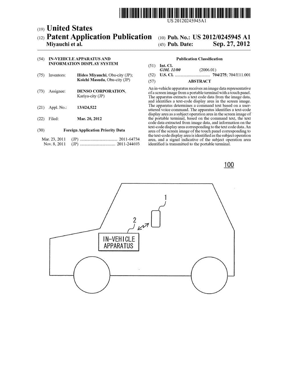 IN-VEHICLE APPARATUS AND INFORMATION DISPLAY SYSTEM - diagram, schematic, and image 01