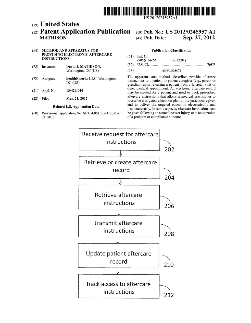 METHOD AND APPARATUS FOR PROVIDING ELECTRONIC AFTERCARE INSTRUCTIONS - diagram, schematic, and image 01