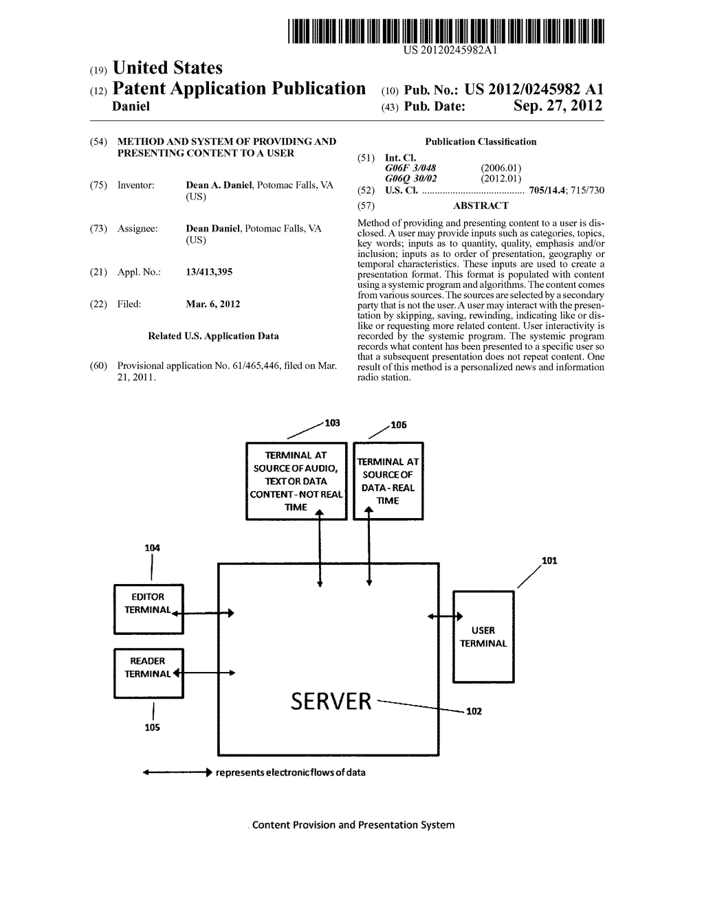 Method and System of Providing and Presenting Content to a User - diagram, schematic, and image 01