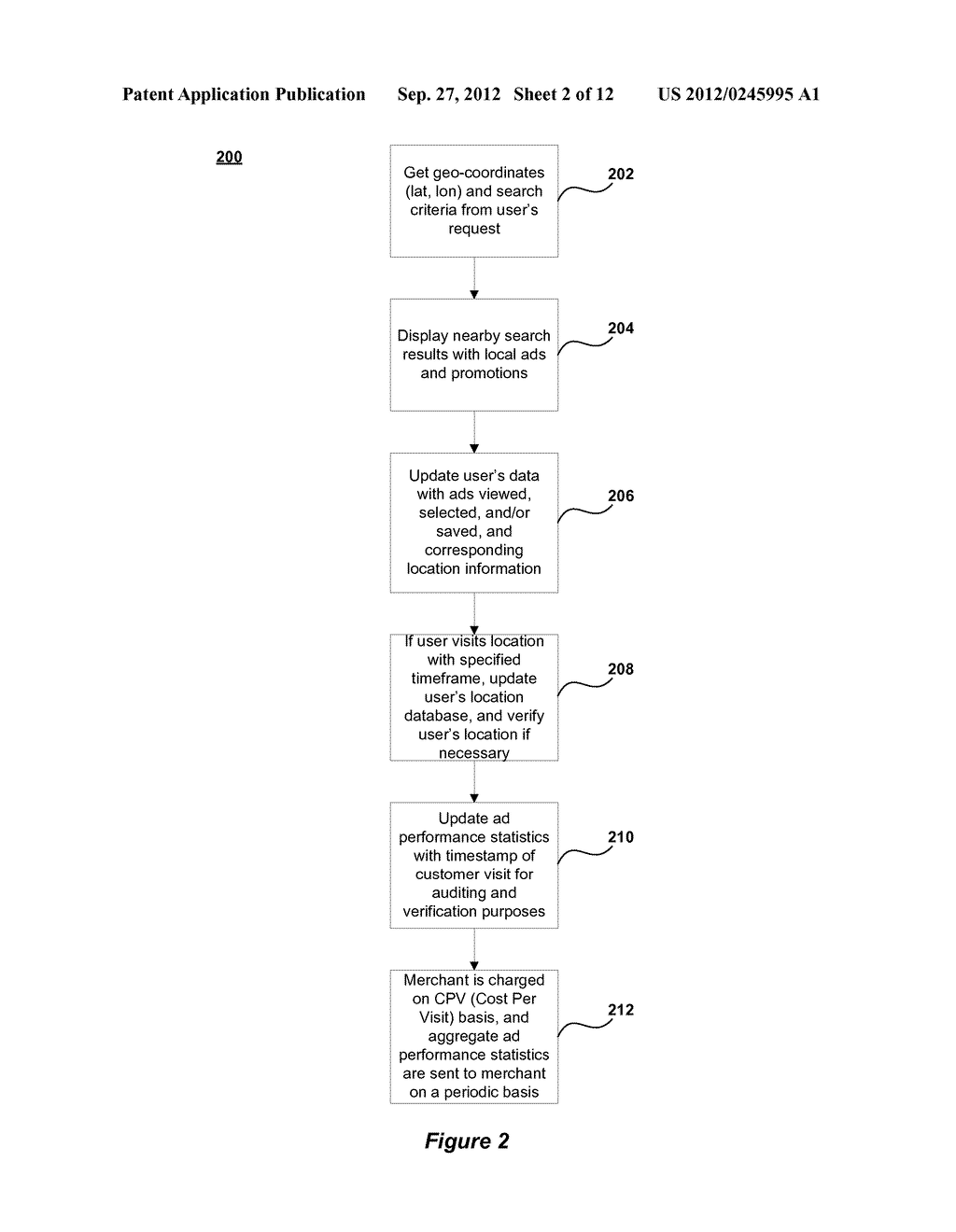 METHOD AND SYSTEM FOR ENABLING LOCATION BASED ADVERTISEMENTS WITH PAY FOR     PERFORMANCE - diagram, schematic, and image 03