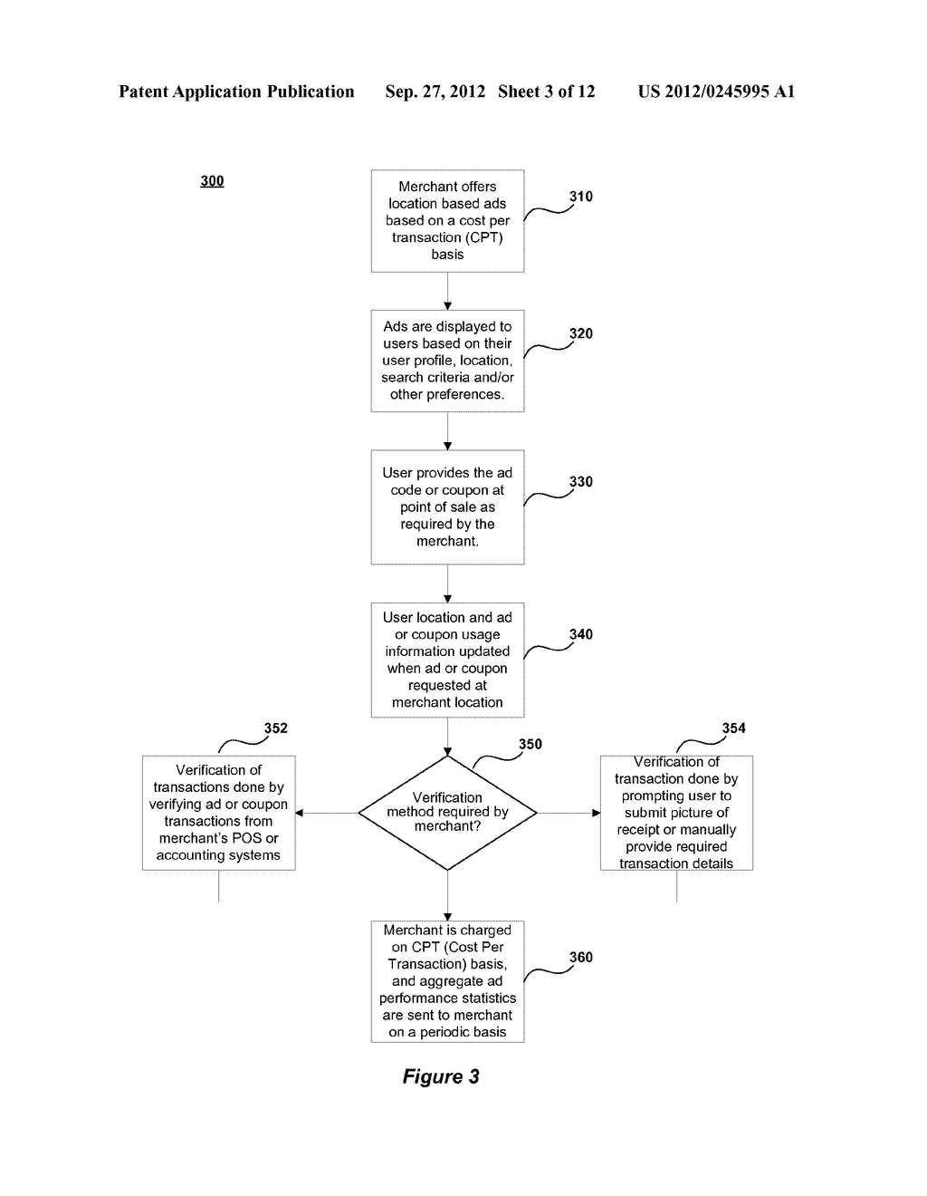 METHOD AND SYSTEM FOR ENABLING LOCATION BASED ADVERTISEMENTS WITH PAY FOR     PERFORMANCE - diagram, schematic, and image 04