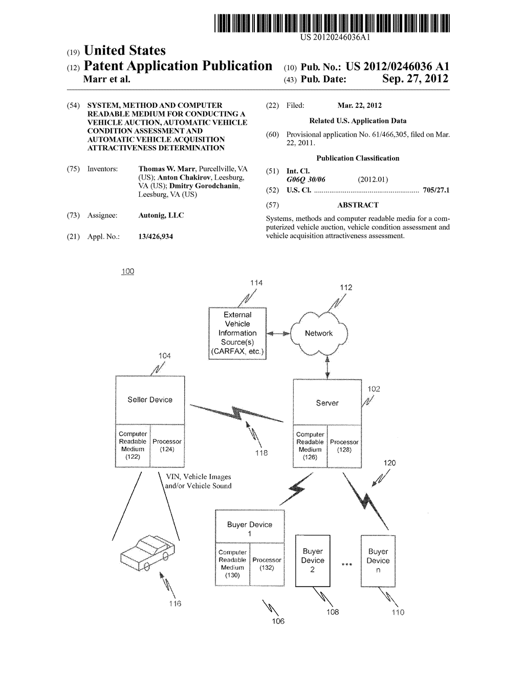 SYSTEM, METHOD AND COMPUTER READABLE MEDIUM FOR CONDUCTING A VEHICLE     AUCTION, AUTOMATIC VEHICLE CONDITION ASSESSMENT AND AUTOMATIC VEHICLE     ACQUISITION ATTRACTIVENESS DETERMINATION - diagram, schematic, and image 01
