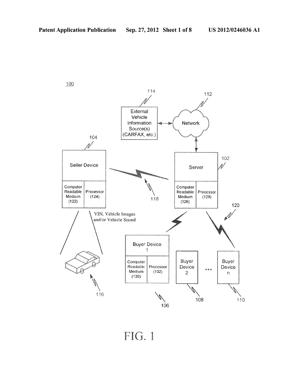 SYSTEM, METHOD AND COMPUTER READABLE MEDIUM FOR CONDUCTING A VEHICLE     AUCTION, AUTOMATIC VEHICLE CONDITION ASSESSMENT AND AUTOMATIC VEHICLE     ACQUISITION ATTRACTIVENESS DETERMINATION - diagram, schematic, and image 02