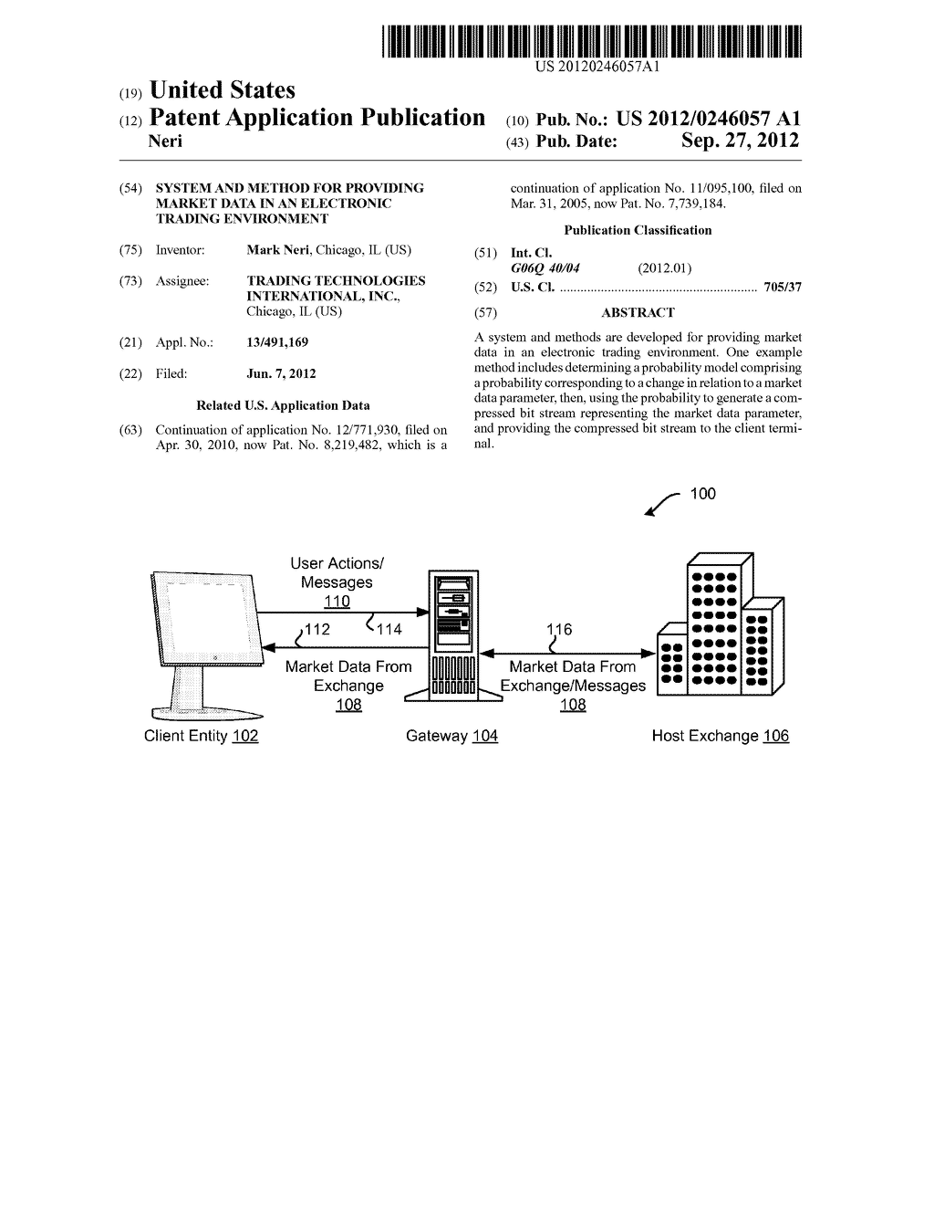 SYSTEM AND METHOD FOR PROVIDING MARKET DATA IN AN ELECTRONIC TRADING     ENVIRONMENT - diagram, schematic, and image 01