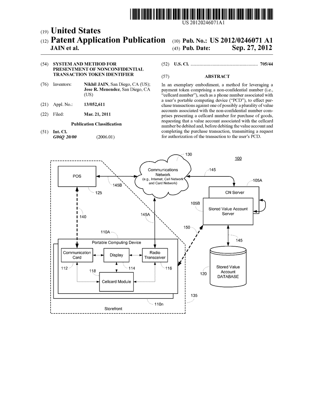 SYSTEM AND METHOD FOR PRESENTMENT OF NONCONFIDENTIAL TRANSACTION TOKEN     IDENTIFIER - diagram, schematic, and image 01