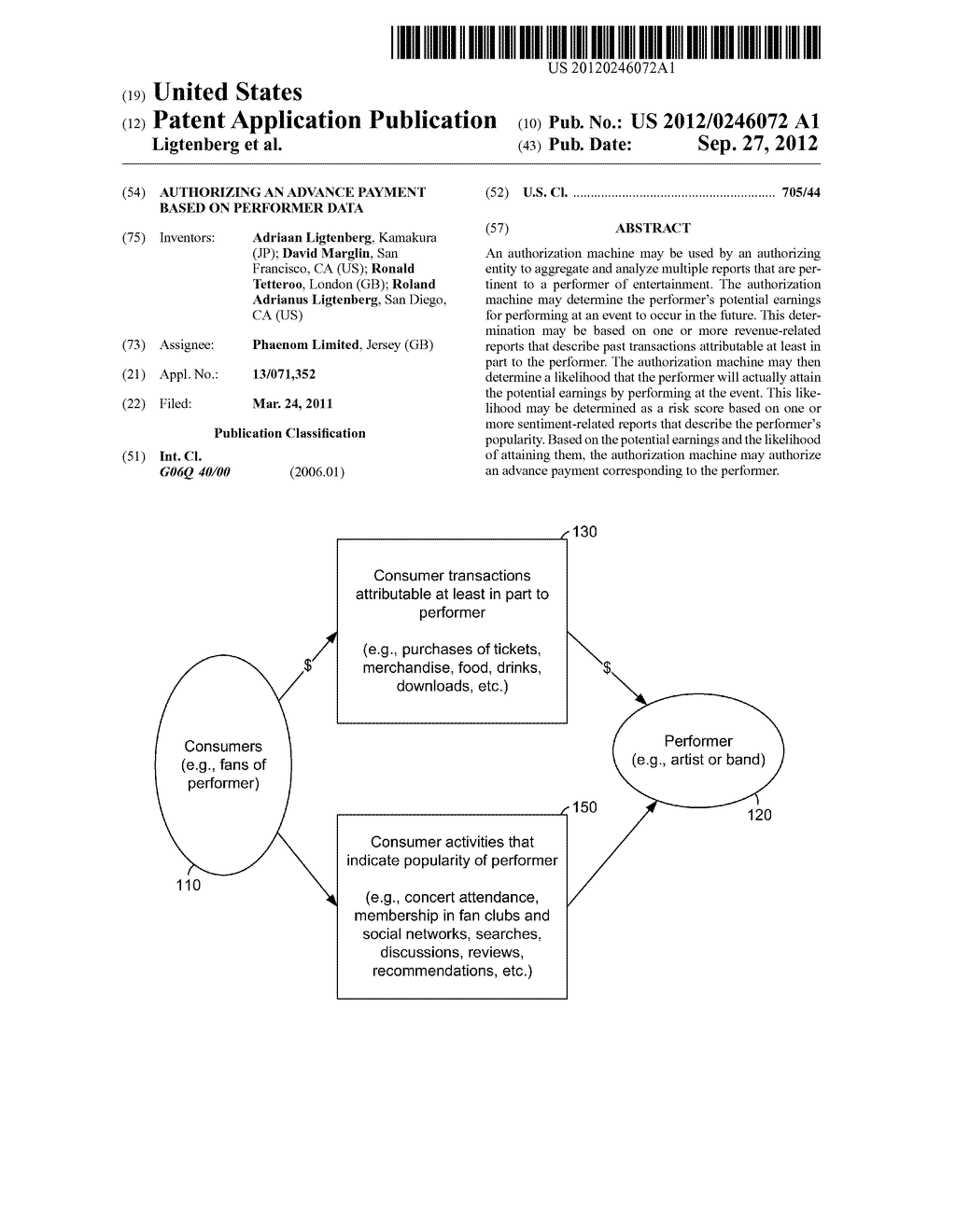 AUTHORIZING AN ADVANCE PAYMENT BASED ON PERFORMER DATA - diagram, schematic, and image 01