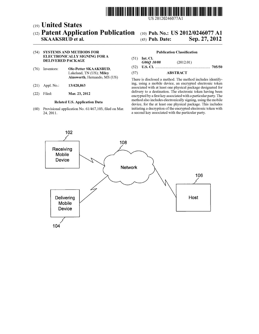 SYSTEMS AND METHODS FOR ELECTRONICALLY SIGNING FOR A DELIVERED PACKAGE - diagram, schematic, and image 01