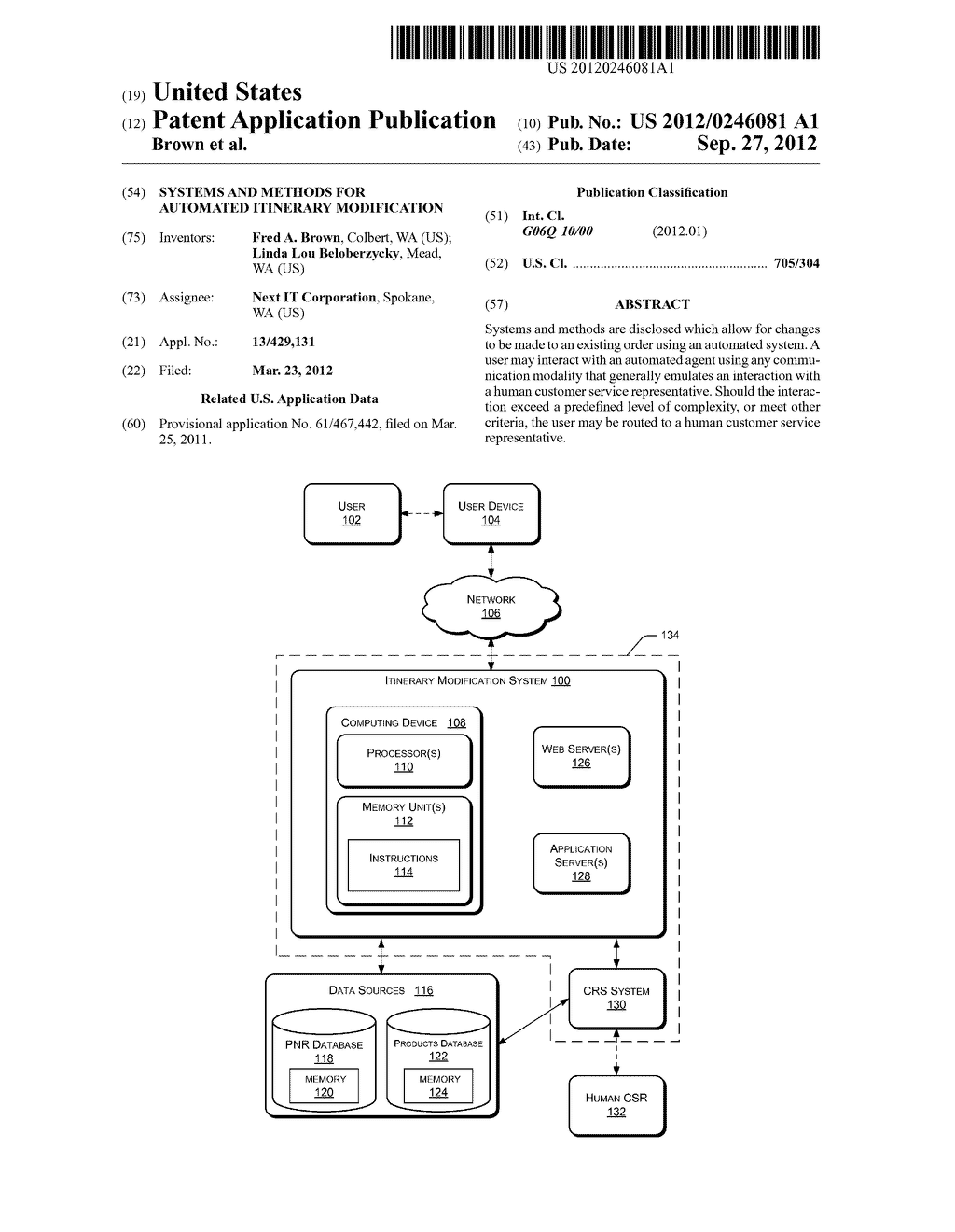 Systems and Methods for Automated Itinerary Modification - diagram, schematic, and image 01