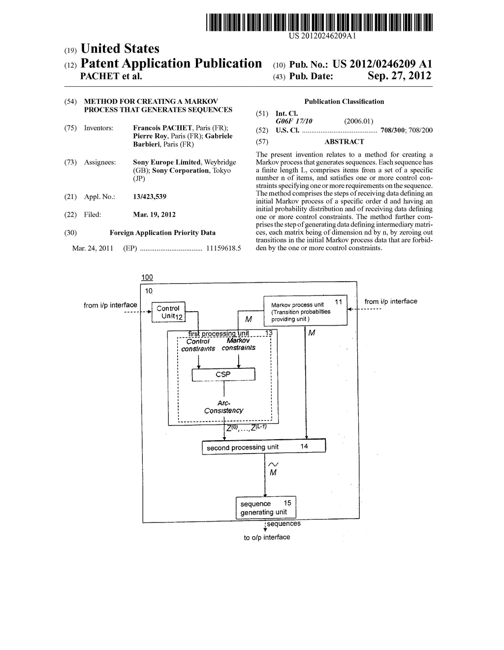 METHOD FOR CREATING A MARKOV PROCESS THAT GENERATES SEQUENCES - diagram, schematic, and image 01