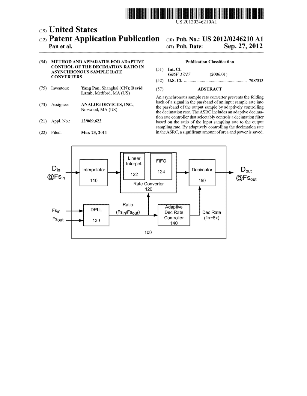 METHOD AND APPARATUS FOR ADAPTIVE CONTROL OF THE DECIMATION RATIO IN     ASYNCHRONOUS SAMPLE RATE CONVERTERS - diagram, schematic, and image 01