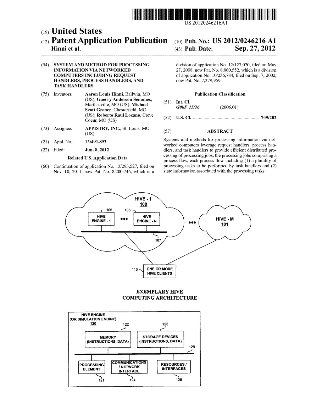 System and Method for Processing Information Via Networked Computers     Including Request Handlers, Process Handlers, and Task Handlers - diagram, schematic, and image 01