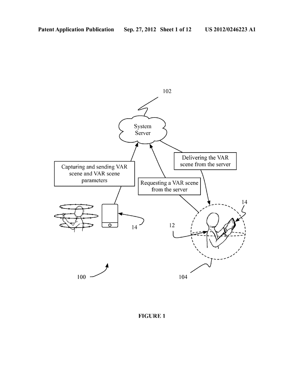 SYSTEM AND METHOD FOR DISTRIBUTING VIRTUAL AND AUGMENTED REALITY SCENES     THROUGH A SOCIAL NETWORK - diagram, schematic, and image 02