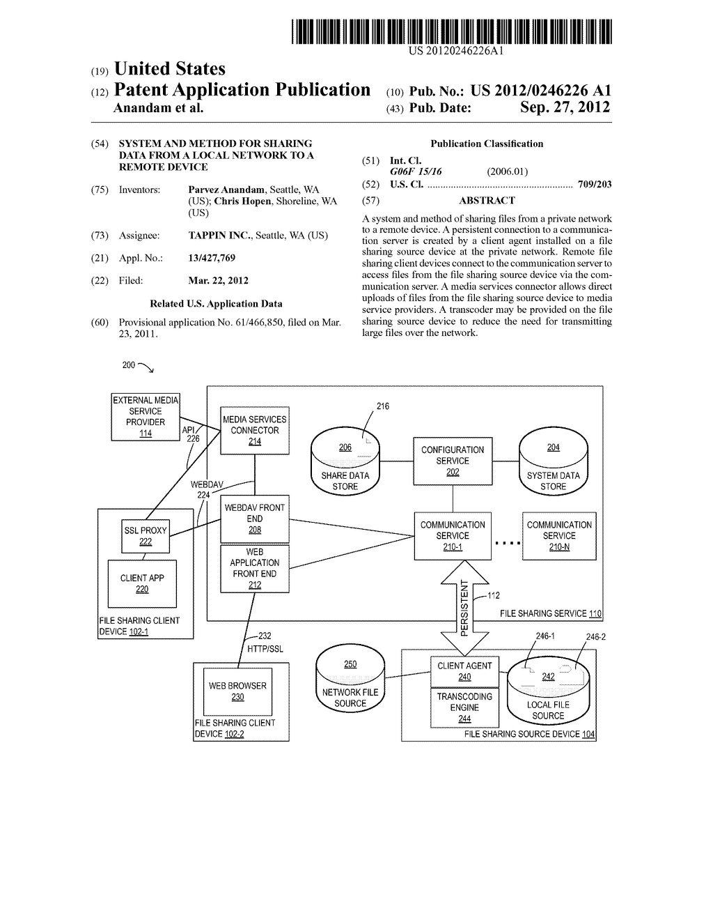 SYSTEM AND METHOD FOR SHARING DATA FROM A LOCAL NETWORK TO A REMOTE DEVICE - diagram, schematic, and image 01