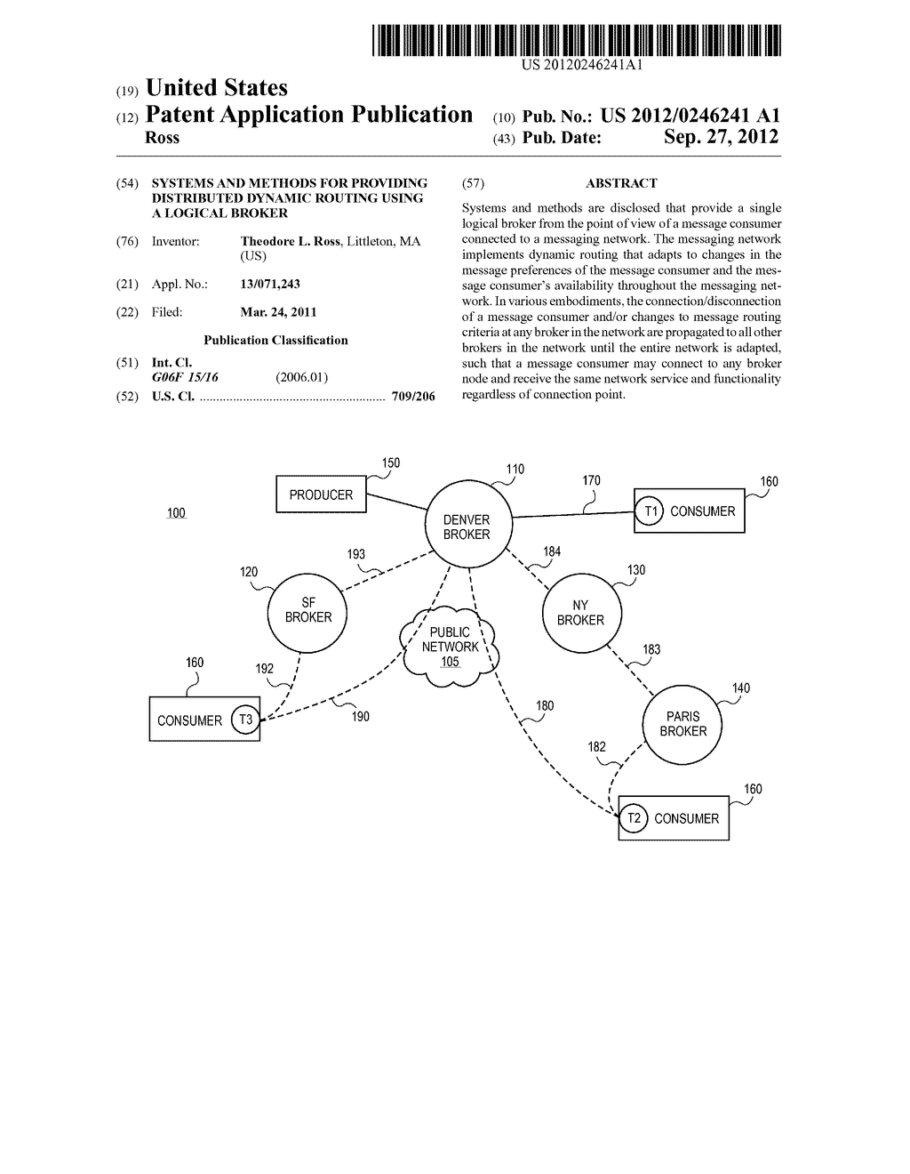 SYSTEMS AND METHODS FOR PROVIDING DISTRIBUTED DYNAMIC ROUTING USING A     LOGICAL BROKER - diagram, schematic, and image 01