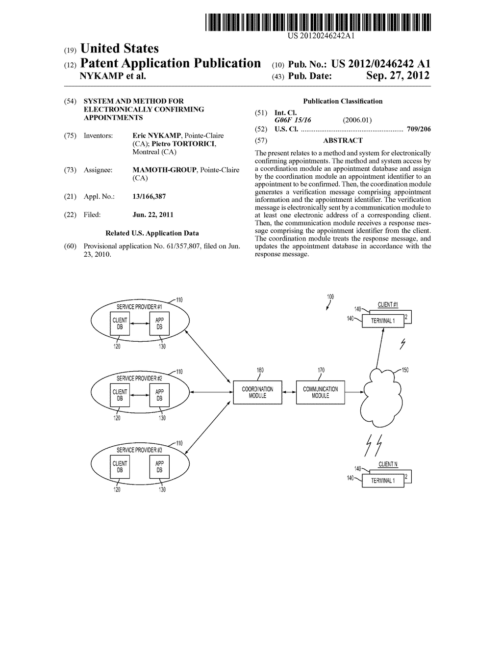 SYSTEM AND METHOD FOR ELECTRONICALLY CONFIRMING APPOINTMENTS - diagram, schematic, and image 01
