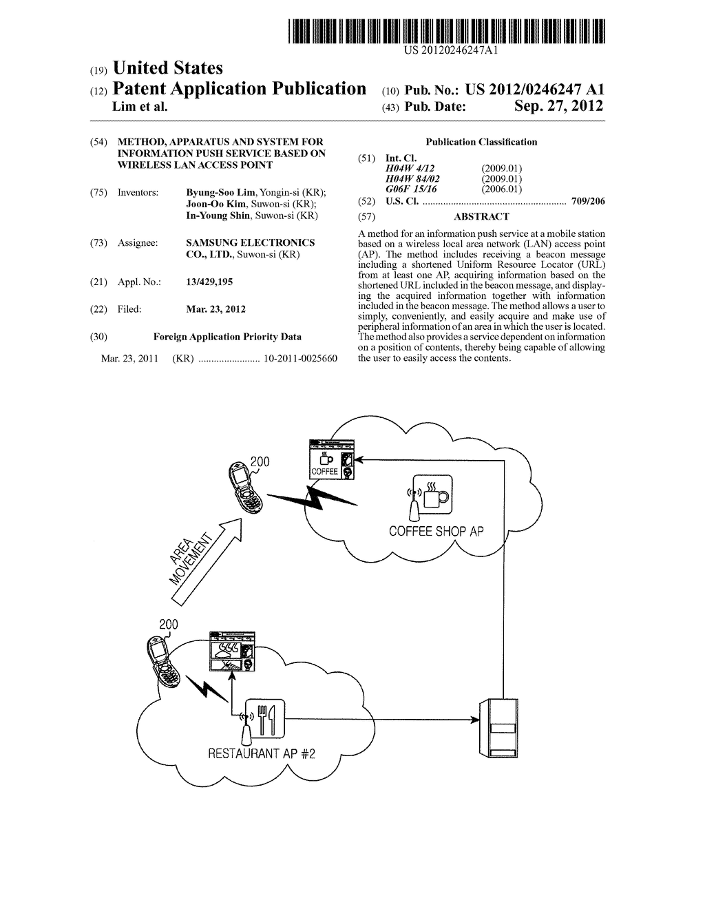 METHOD, APPARATUS AND SYSTEM FOR INFORMATION PUSH SERVICE BASED ON     WIRELESS LAN ACCESS POINT - diagram, schematic, and image 01