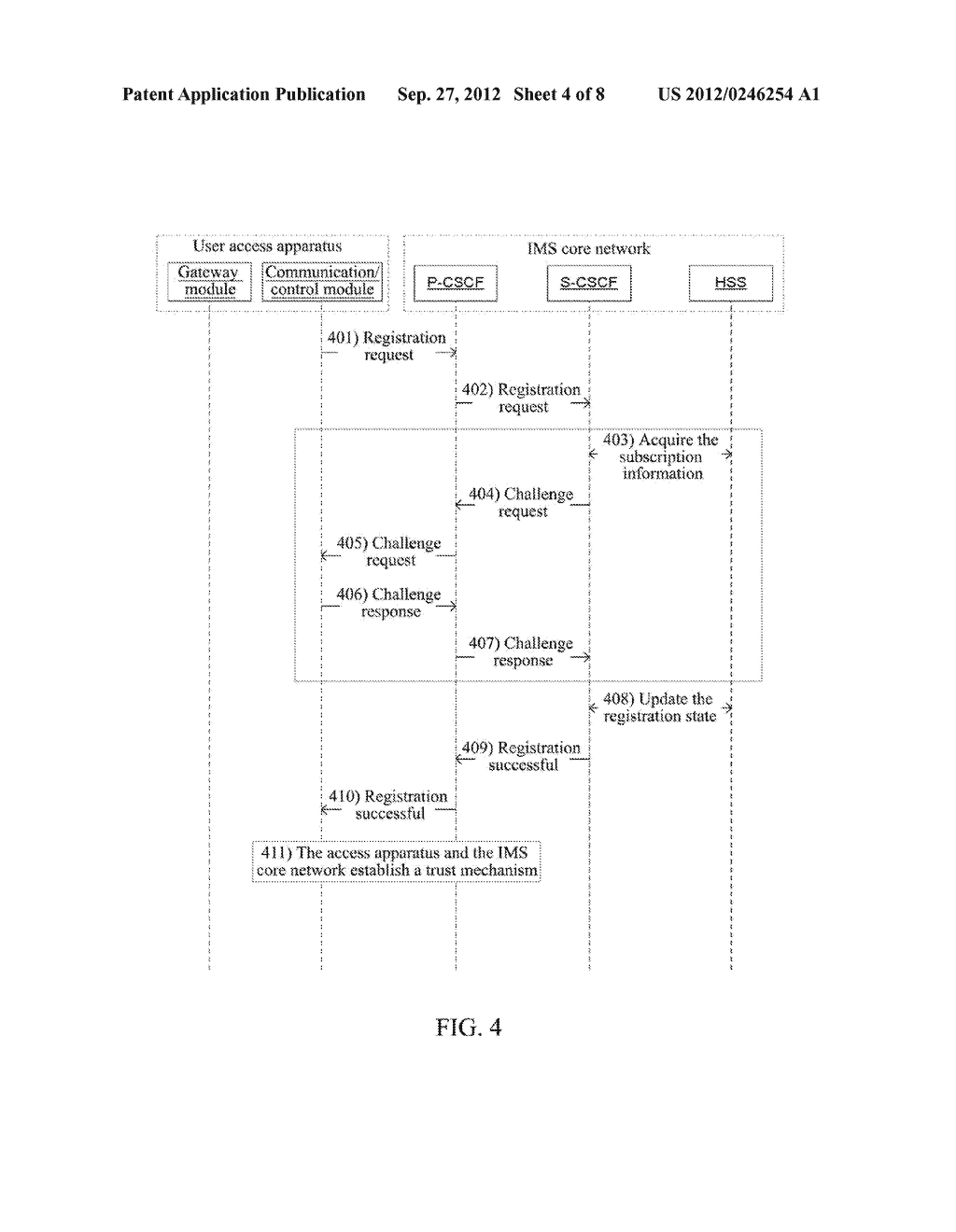Method and Apparatus for User Equipment Accessing in IP Multimedia     Subsystem - diagram, schematic, and image 05