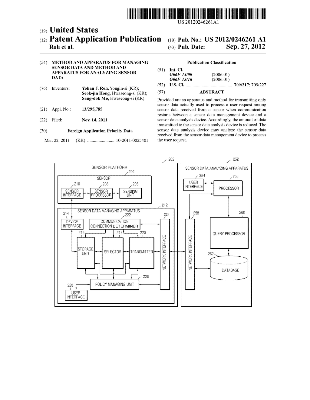 METHOD AND APPARATUS FOR MANAGING SENSOR DATA AND METHOD AND APPARATUS FOR     ANALYZING SENSOR DATA - diagram, schematic, and image 01