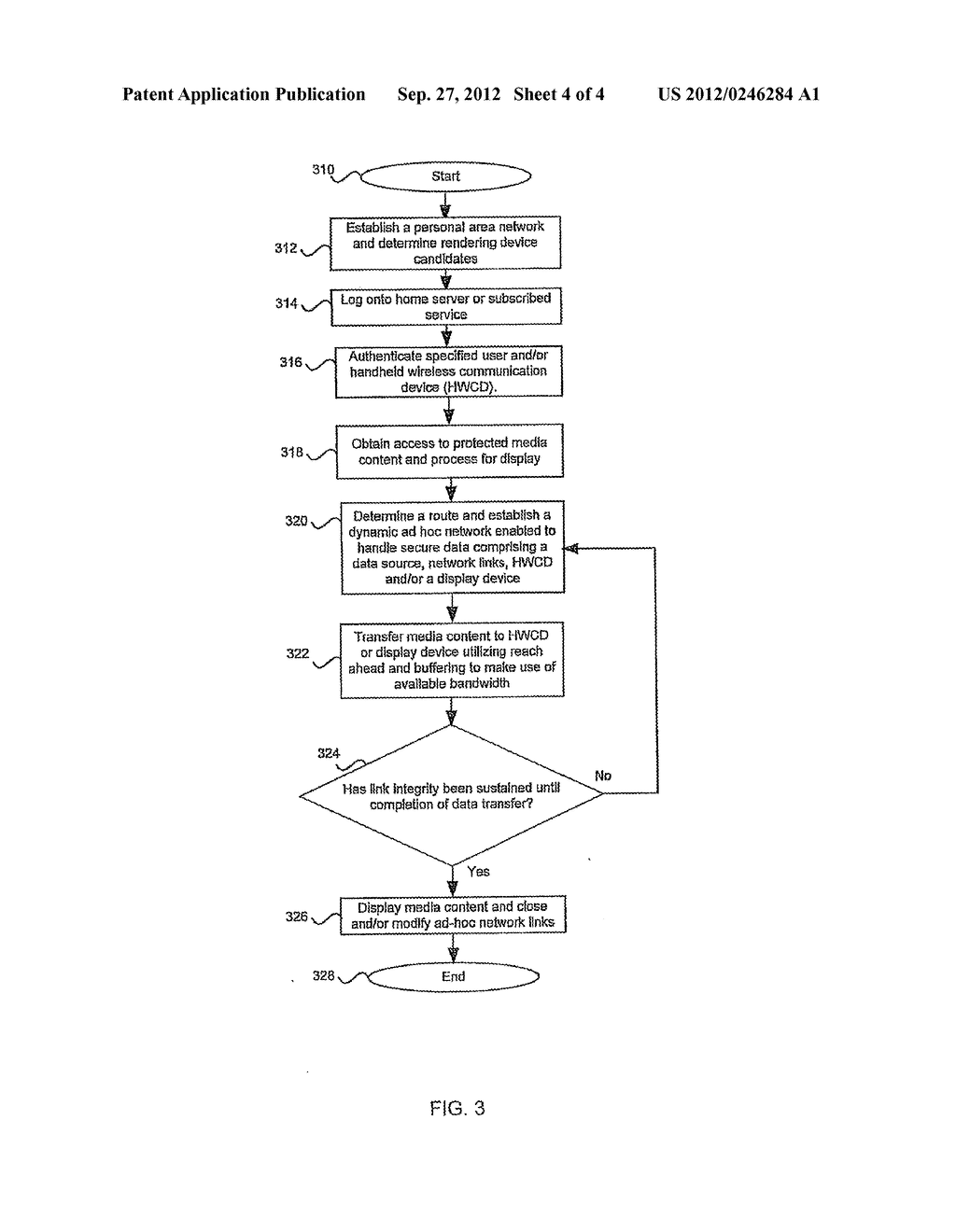 Method and System for Enabling Rendering of Electronic Media Content Via a     Secure Ad Hoc Network Configuration Utilizing a Handheld Wireless     Communication Device - diagram, schematic, and image 05