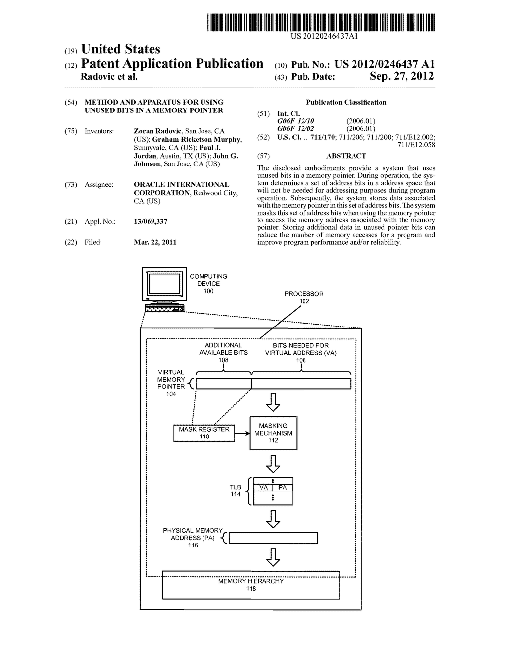 METHOD AND APPARATUS FOR USING UNUSED BITS IN A MEMORY POINTER - diagram, schematic, and image 01