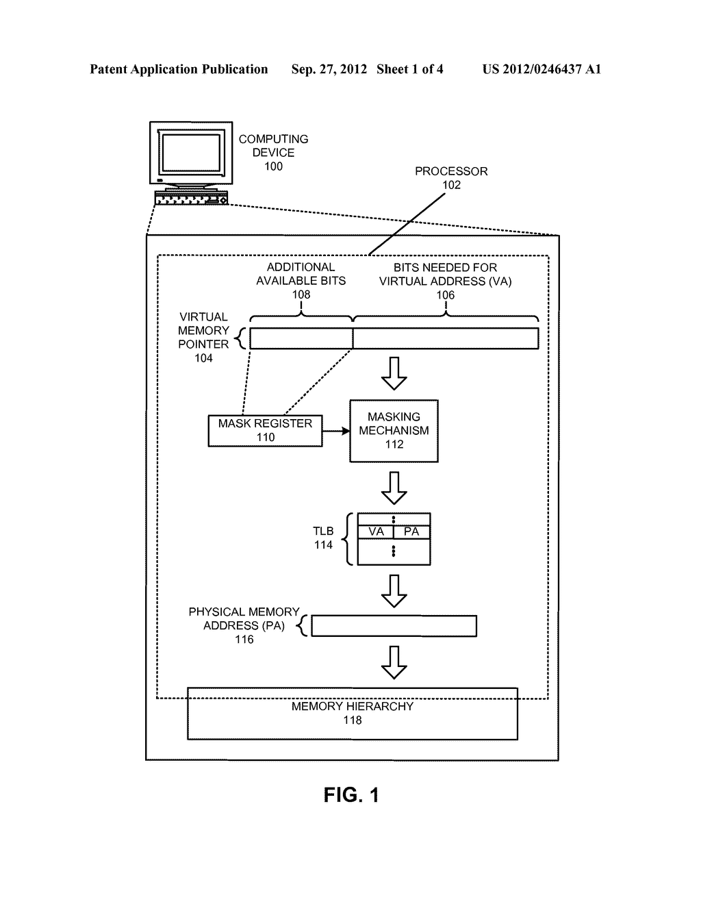 METHOD AND APPARATUS FOR USING UNUSED BITS IN A MEMORY POINTER - diagram, schematic, and image 02