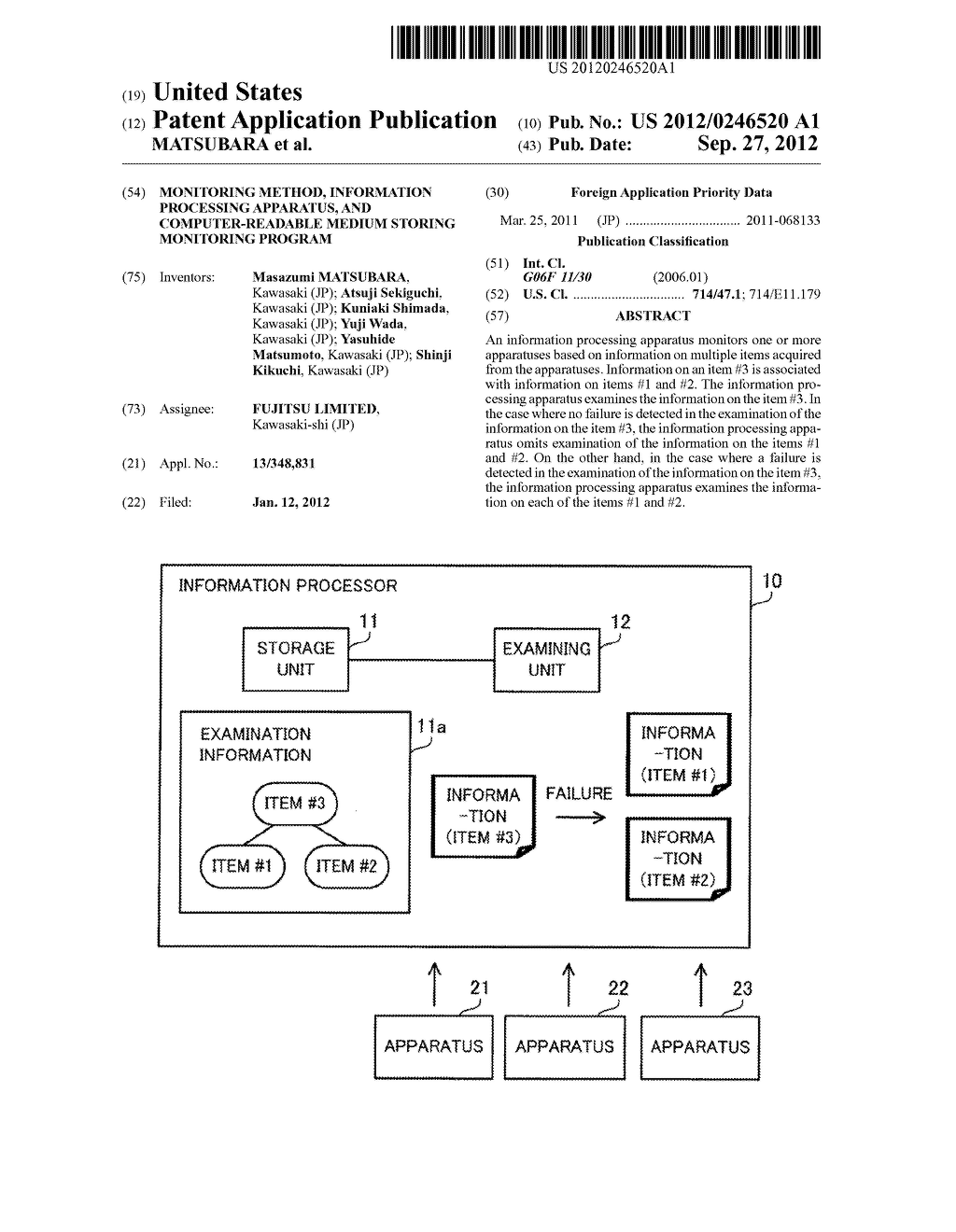 MONITORING METHOD, INFORMATION PROCESSING APPARATUS, AND COMPUTER-READABLE     MEDIUM STORING MONITORING PROGRAM - diagram, schematic, and image 01
