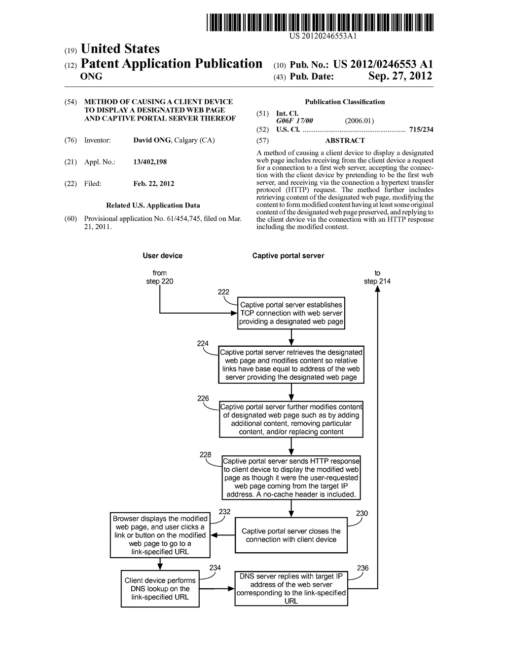 METHOD OF CAUSING A CLIENT DEVICE TO DISPLAY A DESIGNATED WEB PAGE AND     CAPTIVE PORTAL SERVER THEREOF - diagram, schematic, and image 01