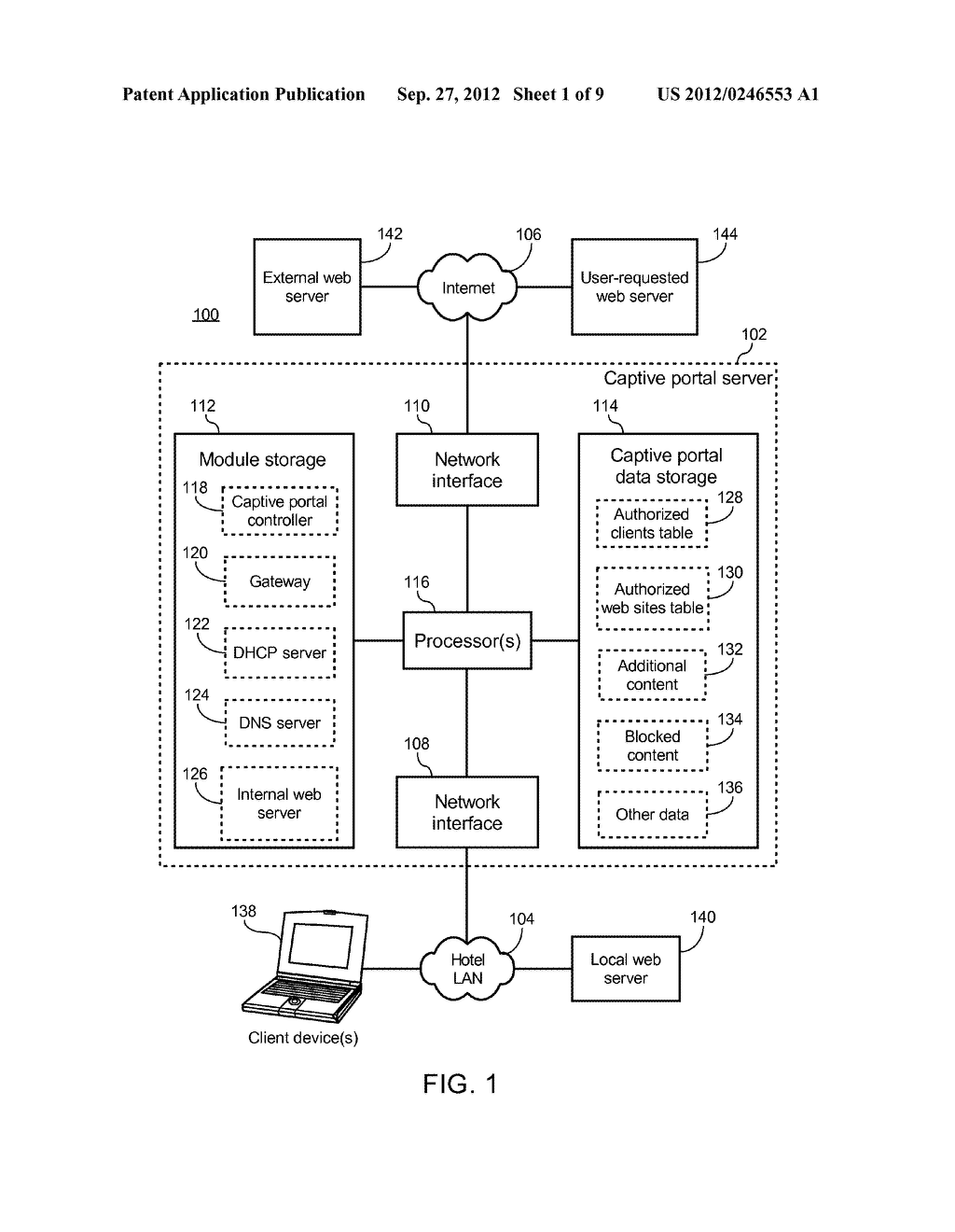 METHOD OF CAUSING A CLIENT DEVICE TO DISPLAY A DESIGNATED WEB PAGE AND     CAPTIVE PORTAL SERVER THEREOF - diagram, schematic, and image 02