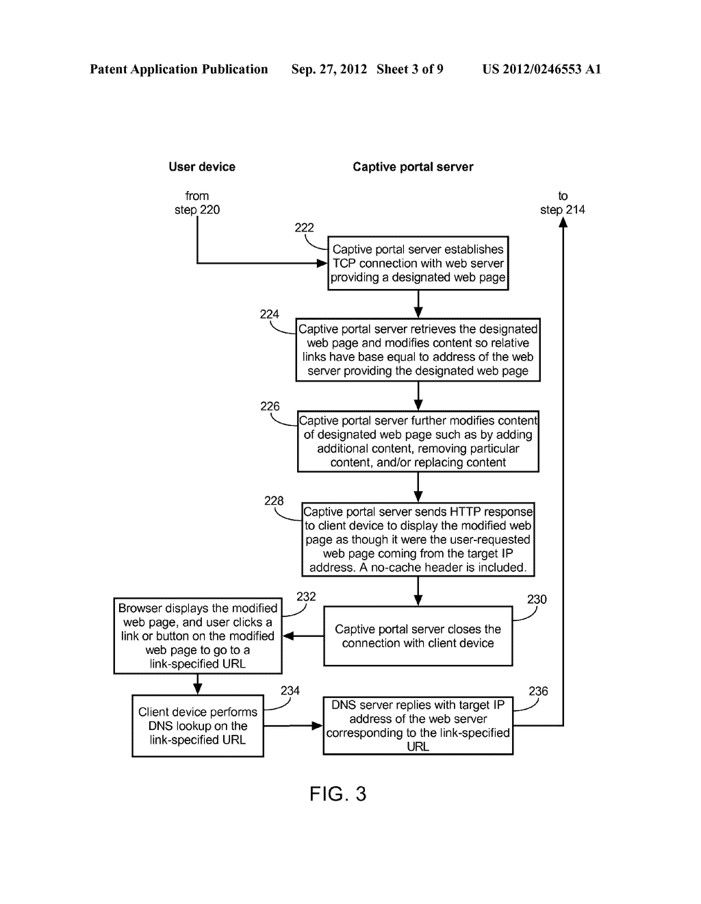 METHOD OF CAUSING A CLIENT DEVICE TO DISPLAY A DESIGNATED WEB PAGE AND     CAPTIVE PORTAL SERVER THEREOF - diagram, schematic, and image 04