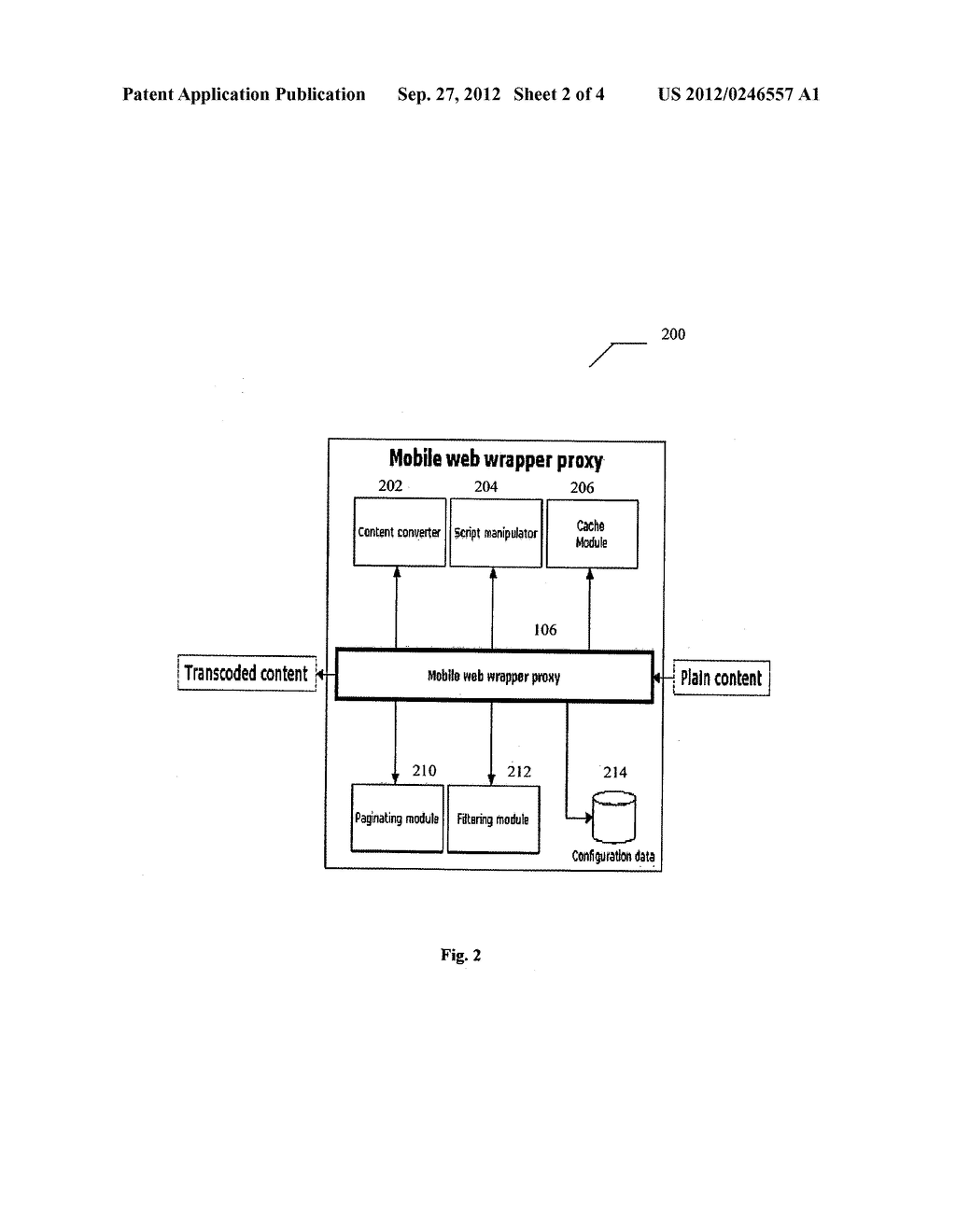 SYSTEM AND METHOD FOR TRANSCODING WEB CONTENT ADAPTABLE TO MULTIPLE CLIENT     DEVICES - diagram, schematic, and image 03