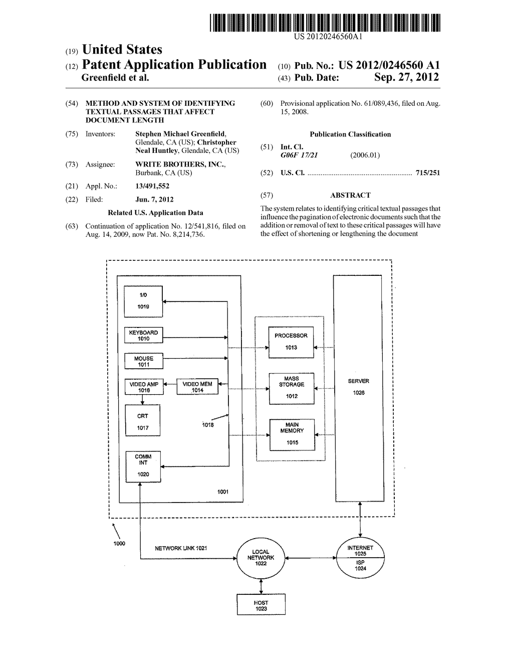 METHOD AND SYSTEM OF IDENTIFYING TEXTUAL PASSAGES THAT AFFECT DOCUMENT     LENGTH - diagram, schematic, and image 01