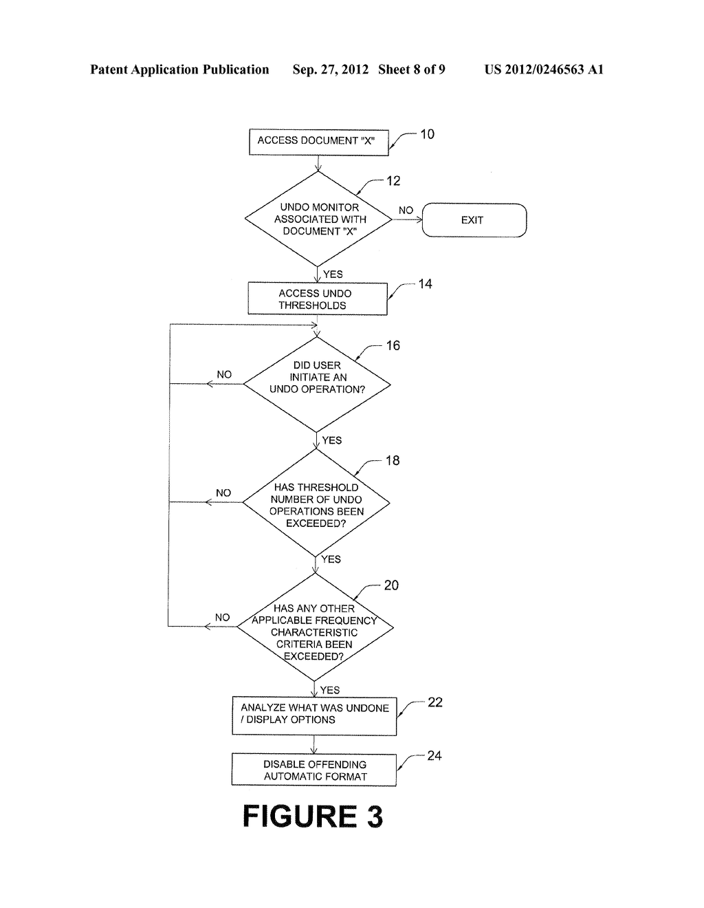 WORD PROCESSING SYSTEM AND METHOD WITH AUTOMATIC UNDO OPERATION MONITORING     AND ANALYSIS - diagram, schematic, and image 09