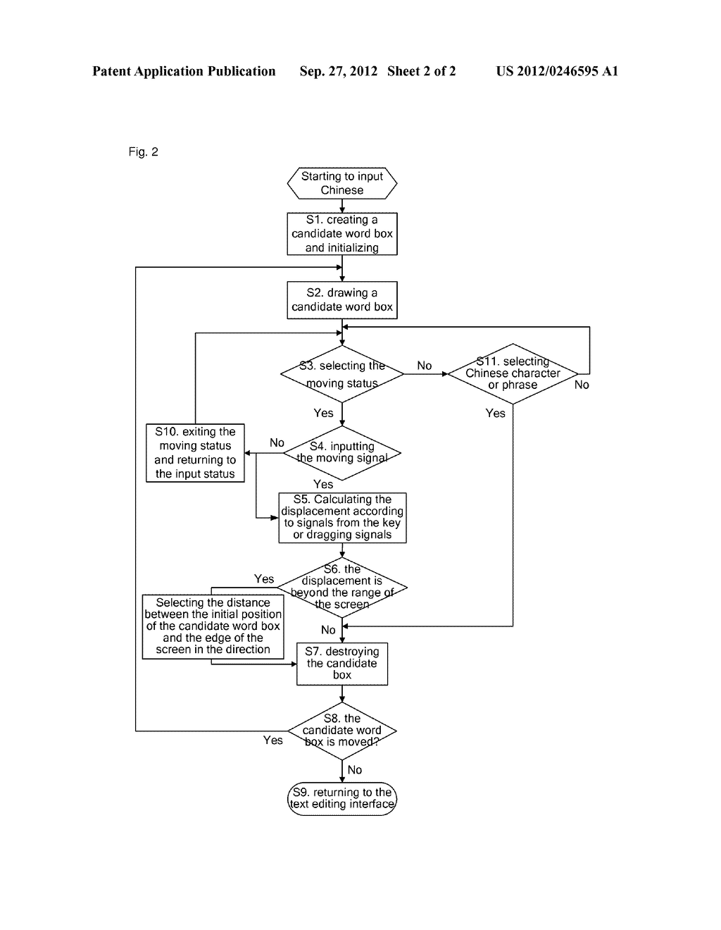 Method for moving a Chinese input candidate word box and mobile terminal - diagram, schematic, and image 03