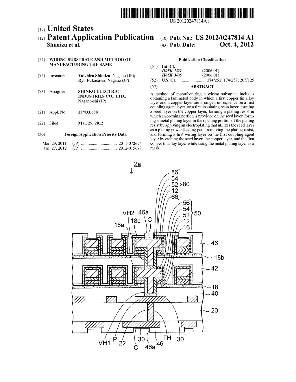 WIRING SUBSTRATE AND METHOD OF MANUFACTURING THE SAME - diagram, schematic, and image 01
