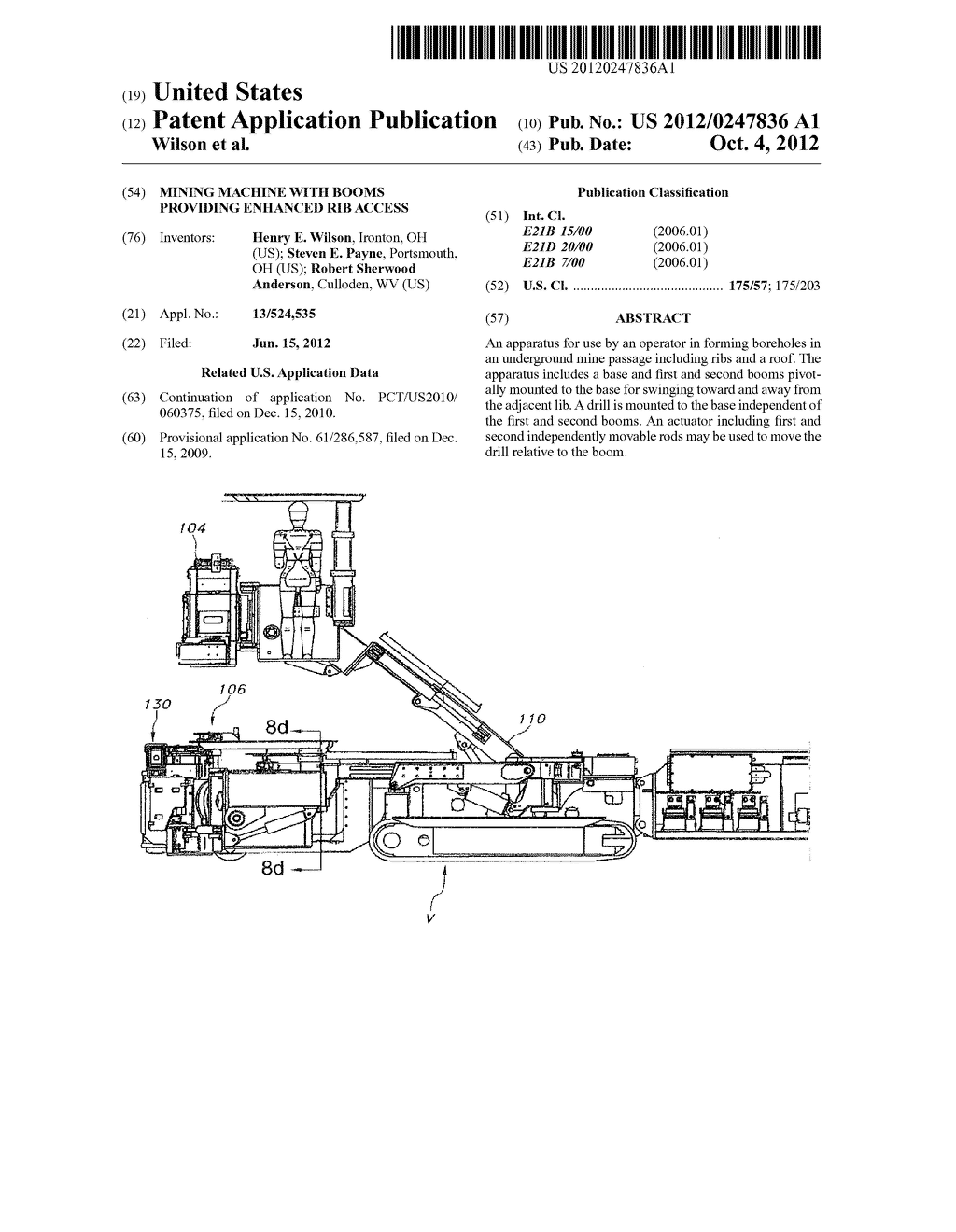 MINING MACHINE WITH BOOMS PROVIDING ENHANCED RIB ACCESS - diagram, schematic, and image 01