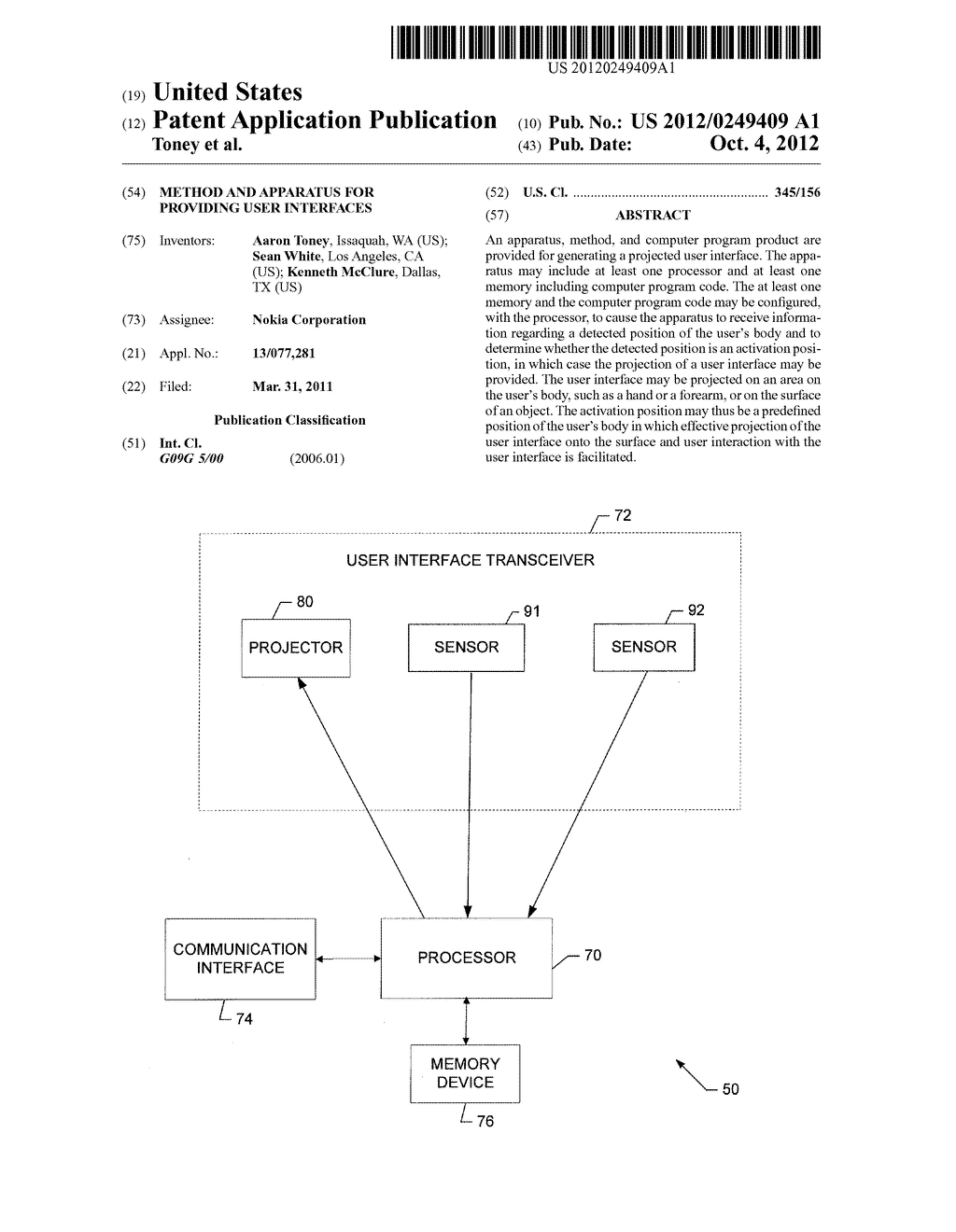METHOD AND APPARATUS FOR PROVIDING USER INTERFACES - diagram, schematic, and image 01