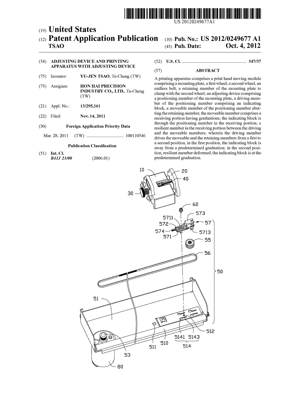 ADJUSTING DEVICE AND PRINTING APPARATUS WITH ADJUSTING DEVICE - diagram, schematic, and image 01